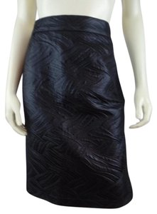 Other Shiny Embossed Straight Fitted Skirt Black