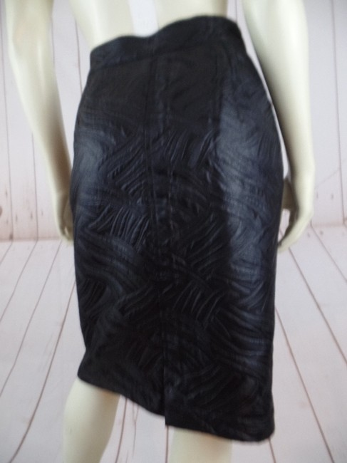 Other Shiny Embossed Straight Fitted Skirt Black Image 1
