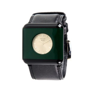 Prada WATCH UNISEX - BLACK SAFFIANO LEATHER GREEN RESIN STAINLESS STEEL