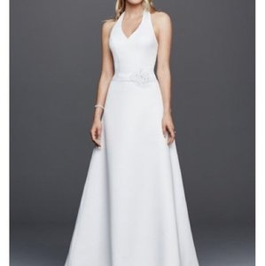 David's Bridal Halter V-neck Wedding Dress Wedding Dress