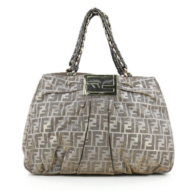 Item - Mia Zucca Large Silver and Gold Canvas Tote