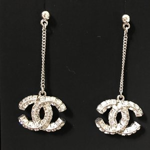 Chanel CHANEL CLASSIC SILVER LARGE CRYSTAL CC DANGLE EARRINGS - BRAND NEW