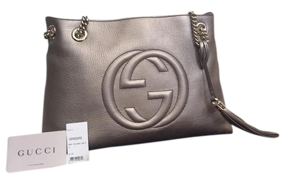 8c5691d68a6c Gucci Soho Chain Strap Tote Sold Out Metallic New Golden Beige ...