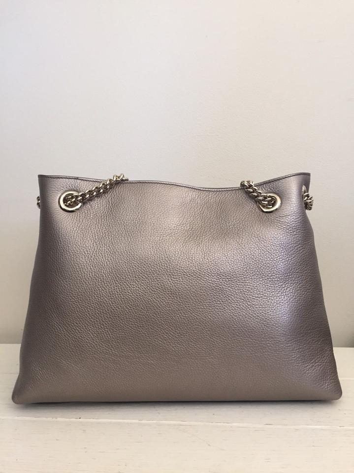 0249523b1 Gucci Soho Chain Strap Tote Sold Out Metallic New Golden Beige ...