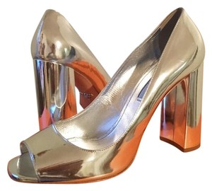 Prada Metallic Block Silver Pumps
