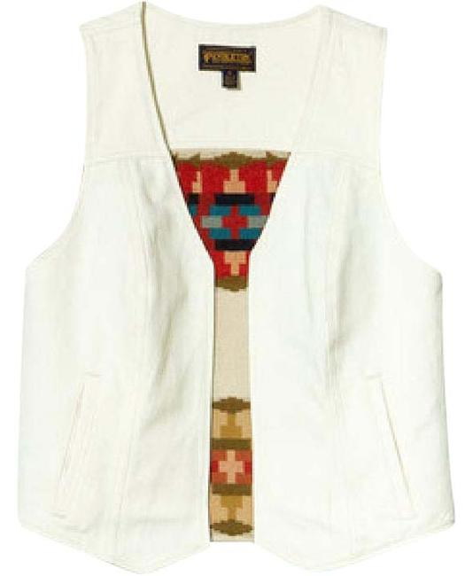 Item - White / Multi Sheep Springs Denim Vest Size 4 (S)