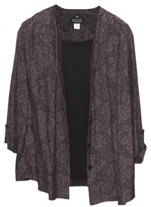 Maggie Barnes Twofer Tank Layered Plus Size Top Purple and Black