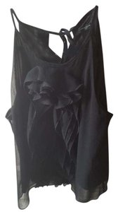 Ann Taylor Date Night Sleeveless Ruffle Tank black Halter Top
