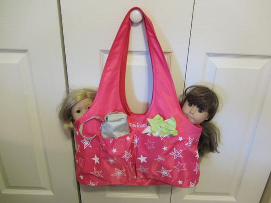 American Girl Washable Durable Fits 2 Dolls & More 4 Pockets Outside Folds Small Strong Fabric Pink Travel Bag