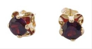 Other Vintage 14K Yellow Gold Garnet Tulip Stud Earrings