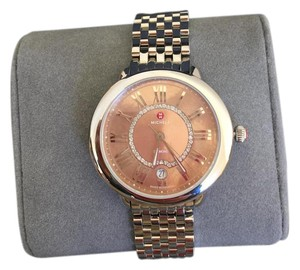 Michele $1095 NWT 'Serein 16' Metallic Rose GOLD MOP Dial Diamond MW21B00A0075