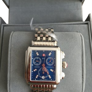 Michele NWT Deco BLUE DIAL CHRONO DATE DIAMOND WATCH MW06P00A0956