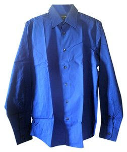 Express Mens Work Shirt Button Down Shirt Royal Blue