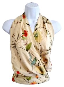 The Limited Floral Beige Lined Nude Halter Top