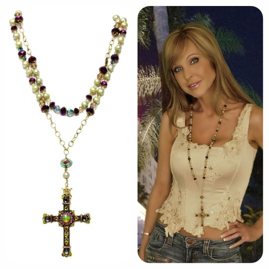 Kinley Gold Rosary Cross Crystal Kinley Necklace Image 1