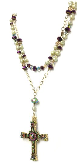 Kinley Gold Rosary Cross Crystal Kinley Necklace Image 2
