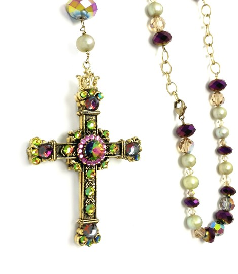 Kinley Gold Rosary Cross Crystal Kinley Necklace Image 6