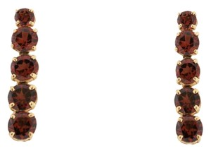 Garnet Bar Drop Earrings - 10k Yellow Gold Vertical Bar Earrings