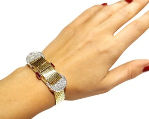 DeWitt's Gorgeous Vintage Art Deco 14K Gold Diamonds and Ruby Watch Bracelet