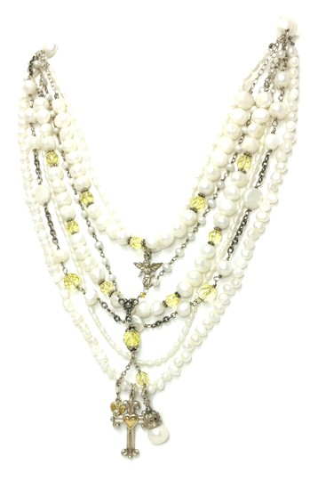 Kinley Sterling silver Multi Strand Pearl Cross Kinley Necklace Image 1