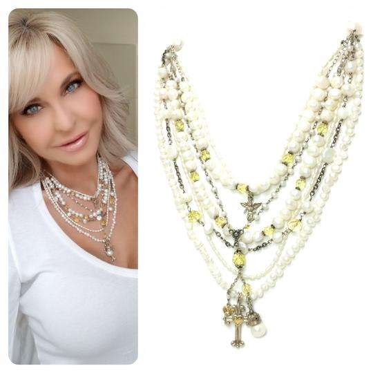 Kinley Sterling silver Multi Strand Pearl Cross Kinley Necklace Image 2