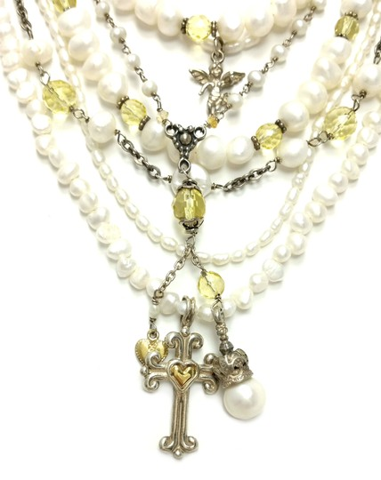 Kinley Sterling silver Multi Strand Pearl Cross Kinley Necklace Image 3