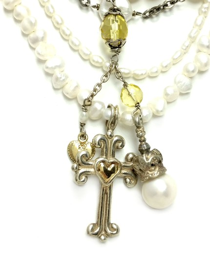 Kinley Sterling silver Multi Strand Pearl Cross Kinley Necklace Image 6
