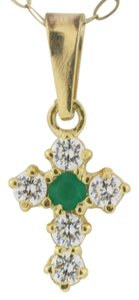 Other Small Diamond Emerald Cross Pendant - 14k Yellow Gold