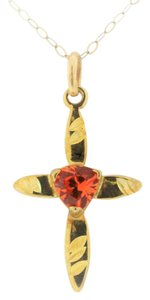 Other Citrine Cross Pendant - 10k Yellow Gold Cross Pendant