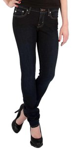 Big Star Stretchy Low Rise Mid Rise Skinny Jeans-Dark Rinse