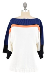 Trina Turk Bateau Neck Color-blocked Cotton/modal Slouchy Sweater