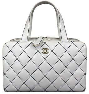 Chanel Wild Stitch Quilted Matelasse Satchel in White