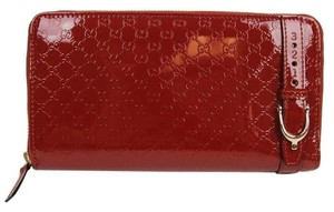 Gucci Gucci Red Nice Patent Leather Guccissima Zip Around Wallet 309757 6227