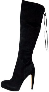 Sam Edelman Over The Knee Tall Platform Heel Suede BLACK SUEDE Boots