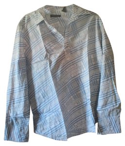 Kenneth Cole Half Placket Mens Button Down Shirt White with light blue print