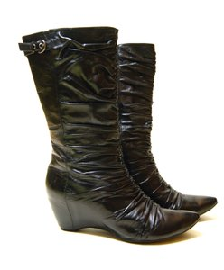 Biviel Boot Wedge Zipper Leather Black Boots