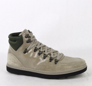 Gucci Tan Men's Patent Leather Suede Hi-top Sneakers 9g/Us 9.5 368496 1563 Shoes