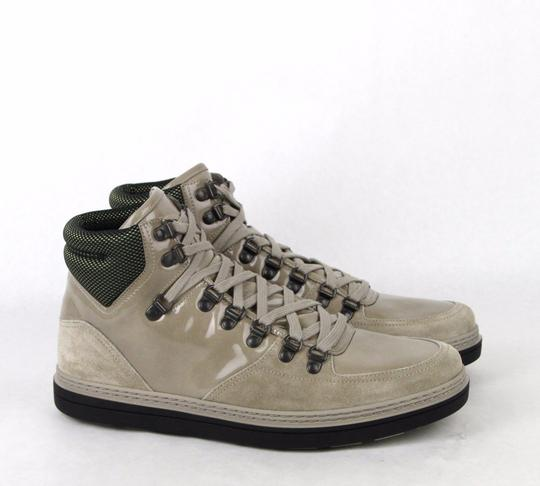 Gucci Tan Men's Patent Leather Suede Hi-top Sneakers 9g/Us 9.5 368496 1563 Shoes Image 3