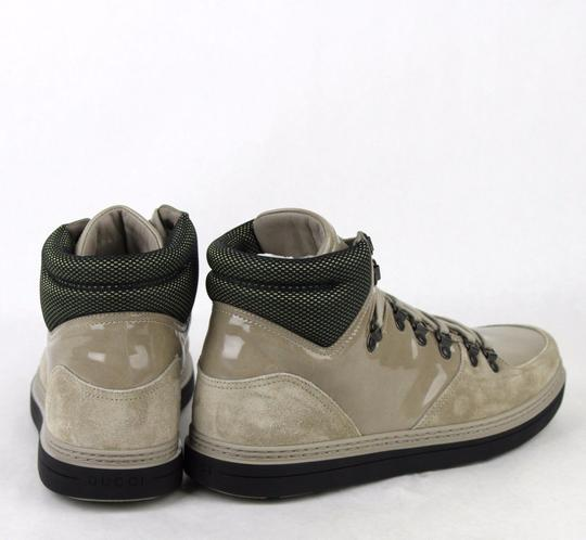 Gucci Tan Men's Patent Leather Suede Hi-top Sneakers 9g/Us 9.5 368496 1563 Shoes Image 4
