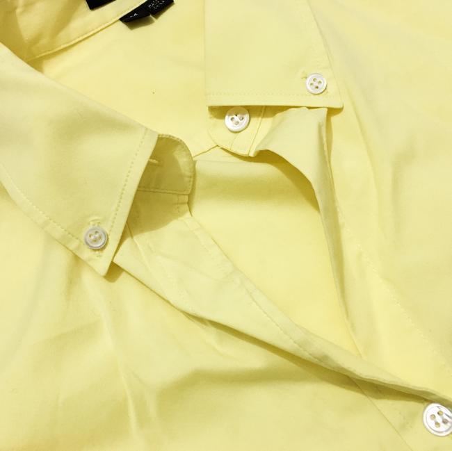 Theory Button Down Shirt Light, Pale Lemon Yellow Image 3