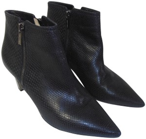 Jimmy Choo Textured Leather Pointed Toe Black Boots