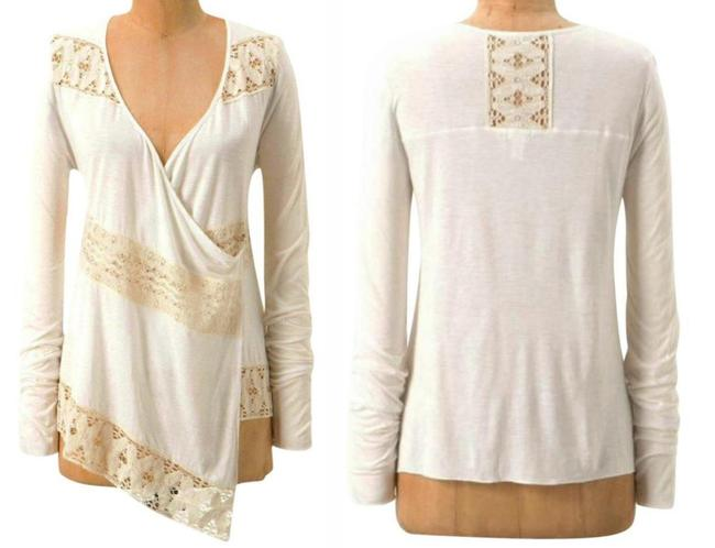 Anthropologie Crossover Front Lace Inserts Cool Comfy Viscose Button Closure Fun To Layer Cardigan Image 1