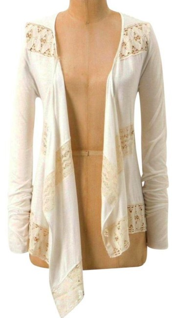 Anthropologie Crossover Front Lace Inserts Cool Comfy Viscose Button Closure Fun To Layer Cardigan Image 2