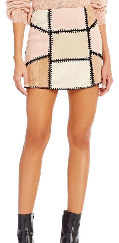 146556bd62 Gianni Bini Margo Patchwork Faux Suede Skirt Size 0 (XS