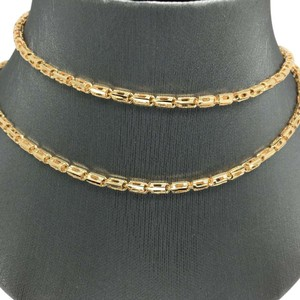 Other 18K Solid Yellow Gold Diamond Cut Bar Chain 24 Inches