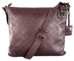 Gucci Monogram Leather Embossed Italian Shoulder Bag