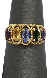 Other 14K Yellow Gold Multi-Color Stone Marquise Shape Ring