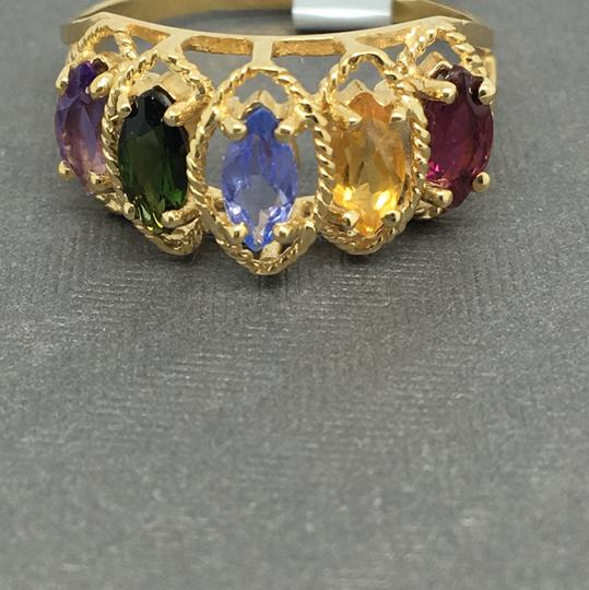 Other 14K Yellow Gold Multi-Color Stone Marquise Shape Ring Image 1