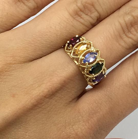 Other 14K Yellow Gold Multi-Color Stone Marquise Shape Ring Image 5