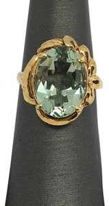 Other 18K Solid Yellow Gold Natural Green Amethyst Ring